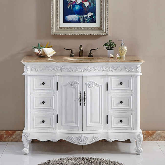 Silkroad Exclusive 48 In Antique White Single Sink Bathroom Vanity With Travertine Top In The Bathroom Vanities With Tops Department At Lowes Com