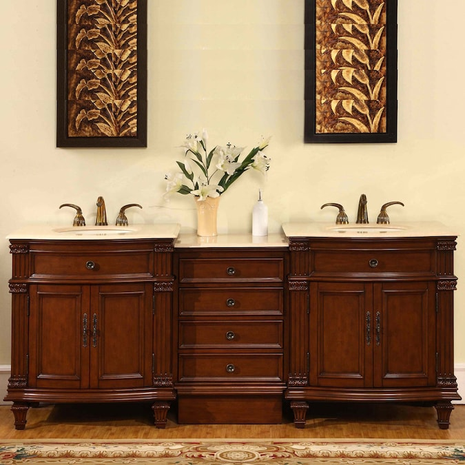 Bellaterra Home 62 In Colonial Cherry Undermount Double Sink Bathroom Vanity With Black Galaxy Granite Top In The Bathroom Vanities With Tops Department At Lowes Com