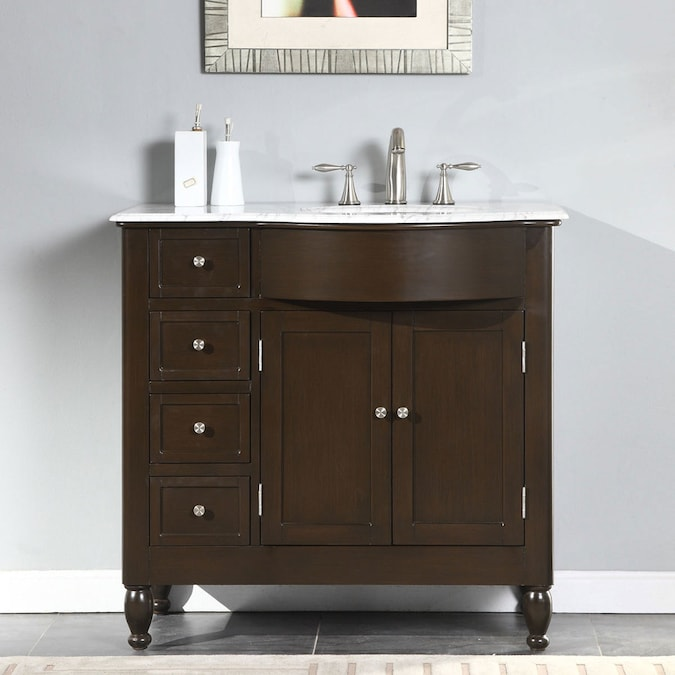 Silkroad Exclusive 38 In Dark Walnut Undermount Single Sink Bathroom Vanity With Carrara White Natural Marble Top In The Bathroom Vanities With Tops Department At Lowes Com