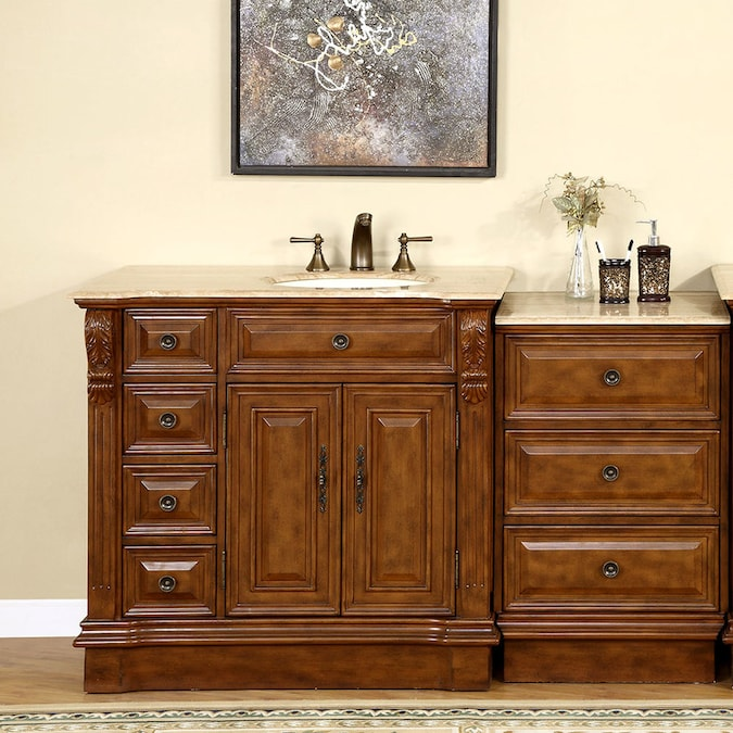 Silkroad Exclusive 58 In Walnut Undermount Single Sink Bathroom Vanity With Travertine Top In The Bathroom Vanities With Tops Department At Lowes Com