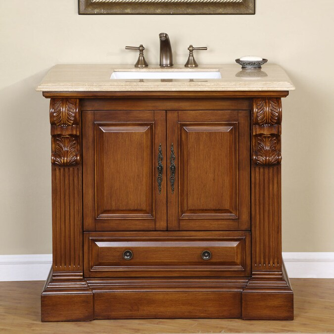 Silkroad Exclusive 39 In Cherry Undermount Single Sink Bathroom Vanity With Travertine Top In The Bathroom Vanities With Tops Department At Lowes Com