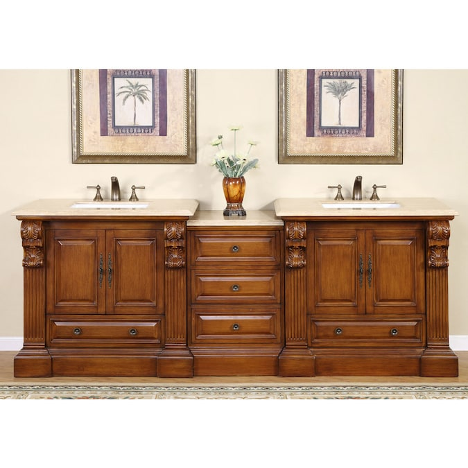 Silkroad Exclusive 95 In Cherry Undermount Double Sink Bathroom Vanity With Travertine Top In The Bathroom Vanities With Tops Department At Lowes Com