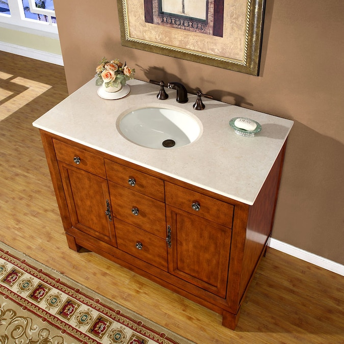 Silkroad Exclusive 42 In Cherry Undermount Single Sink Bathroom Vanity With Crema Marfil Natural Marble Top In The Bathroom Vanities With Tops Department At Lowes Com