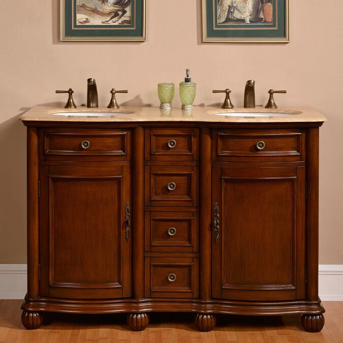 Silkroad Exclusive 52 In English Chestnut Undermount Double Sink Bathroom Vanity With Travertine Top In The Bathroom Vanities With Tops Department At Lowes Com