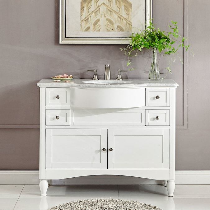 Silkroad Exclusive 45 In White Undermount Single Sink Bathroom Vanity With Carrara White Natural Marble Top In The Bathroom Vanities With Tops Department At Lowes Com