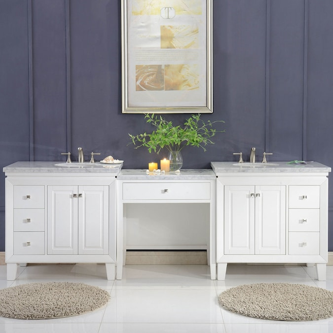 Silkroad Exclusive 103 In White Undermount Double Sink Bathroom Vanity With Carrara White Natural Marble Top In The Bathroom Vanities With Tops Department At Lowes Com