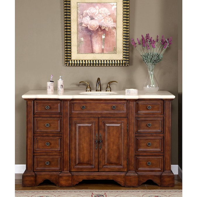 Silkroad Exclusive 59 In English Chestnut Single Sink Bathroom Vanity With Crema Marfil Natural Marble Top In The Bathroom Vanities With Tops Department At Lowes Com
