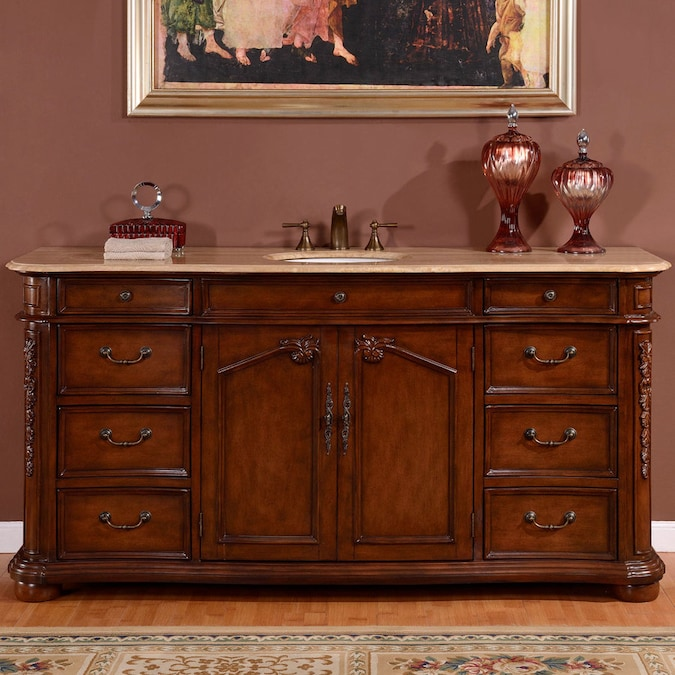 Silkroad Exclusive 72 In English Chestnut Undermount Single Sink Bathroom Vanity With Travertine Top In The Bathroom Vanities With Tops Department At Lowes Com