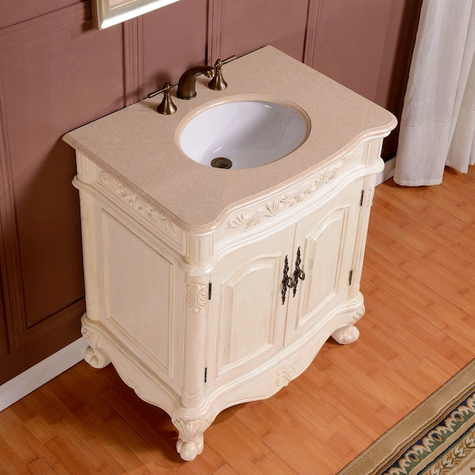 Silkroad Exclusive 32 In Antique White Single Sink Bathroom Vanity With Crema Marfil Natural Marble Top In The Bathroom Vanities With Tops Department At Lowes Com