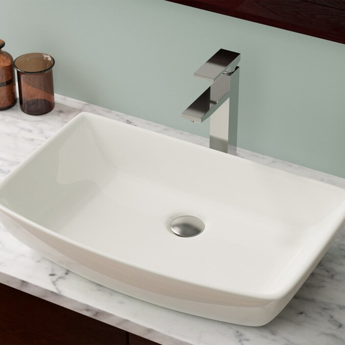 Mr Direct Bisque Porcelain Vessel Rectangular Bathroom Sink 23 5 In X 14 75 In In The Bathroom Sinks Department At Lowes Com