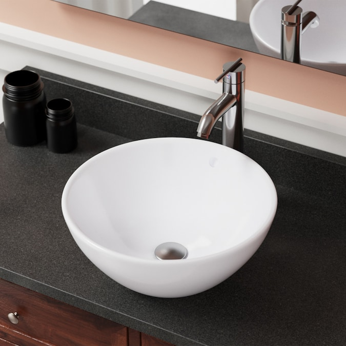 Mr Direct White Porcelain Vessel Round Bathroom Sink With Overflow Drain 16 13 In X 16 13 In In The Bathroom Sinks Department At Lowes Com