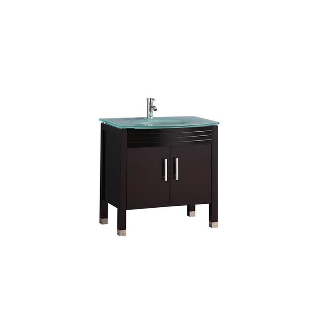 Mtd Vanities 32 In Espresso Single Sink Bathroom Vanity With Green Glass Top Mirror And Faucet Included In The Bathroom Vanities With Tops Department At Lowes Com