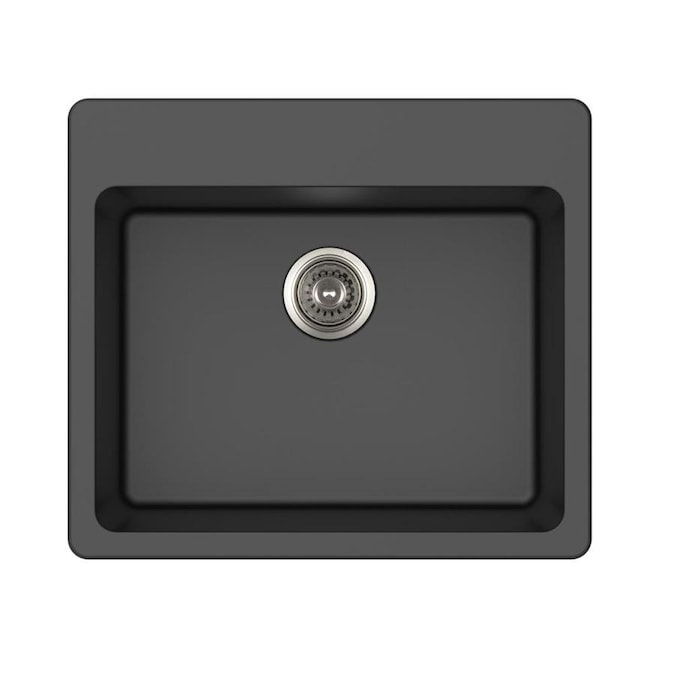 Winflo Winpro Granite Sink Dual Mount 25 In X 22 In Black Single Bowl Kitchen Sink In The Kitchen Sinks Department At Lowes Com