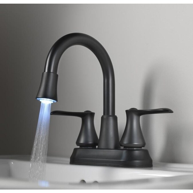 Homewerks Worldwide Led Aerator Matte Black 2 Handle 4 In Minispread Watersense Bathroom Sink Faucet With Drain In The Bathroom Sink Faucets Department At Lowes Com