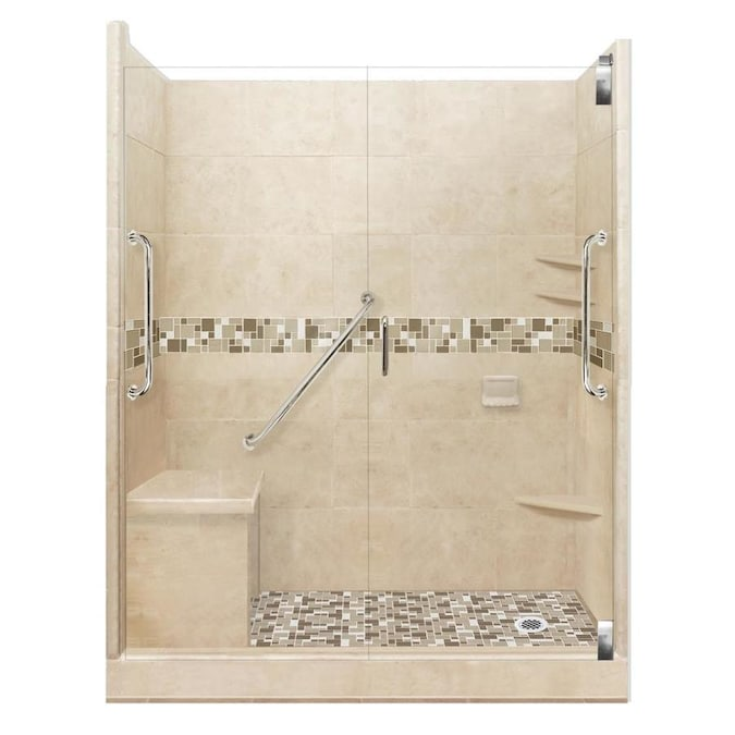 American Bath Factory Freedom Grand Brown Sugar Tuscany Satin Nickel 40 Piece 60 In X 36 In X 80 In Alcove Shower Kit In The Alcove Shower Kits Department At Lowes Com