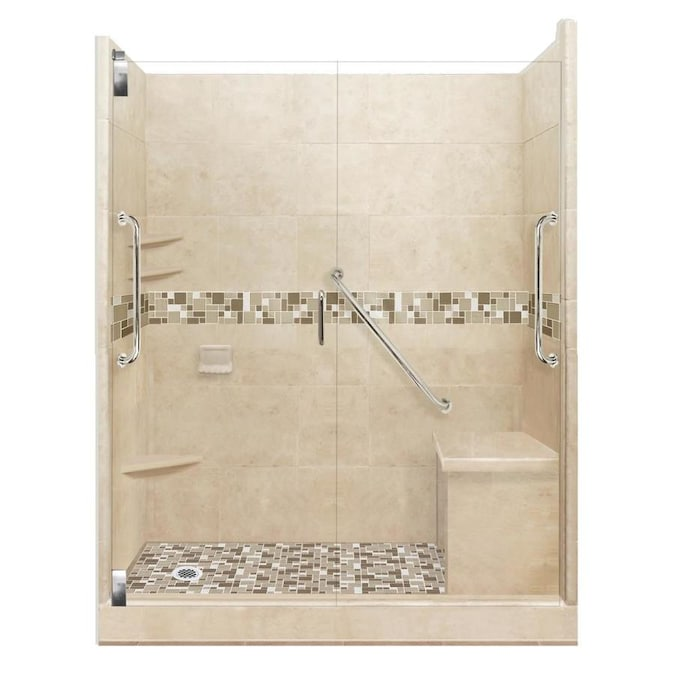 American Bath Factory Freedom Grand Brown Sugar Tuscany Satin Nickel 40 Piece 60 In X 42 In X 80 In Alcove Shower Kit In The Alcove Shower Kits Department At Lowes Com