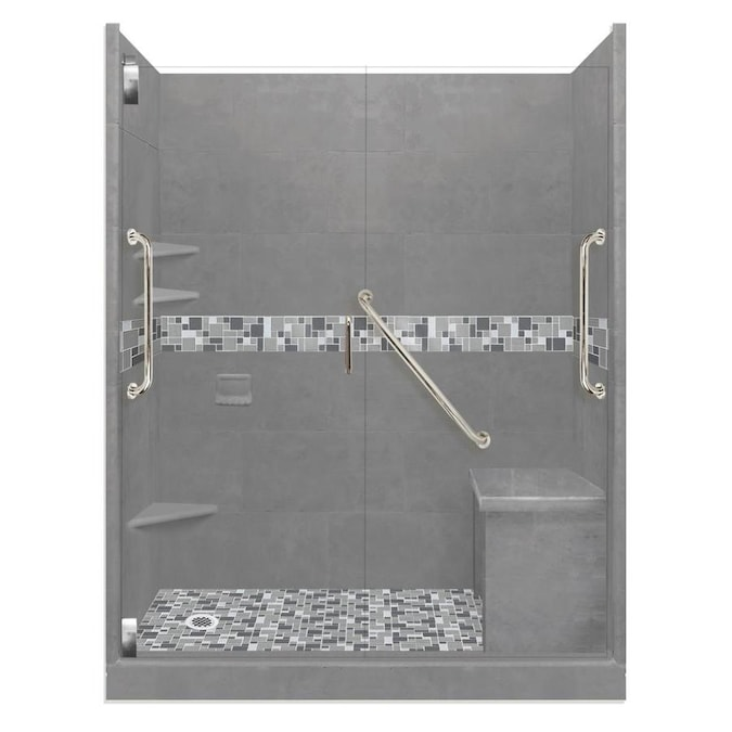 American Bath Factory Freedom Grand Natural Buff Del Mar Satin Nickel 40 Piece 60 In X 42 In X 80 In Alcove Shower Kit In The Alcove Shower Kits Department At Lowes Com