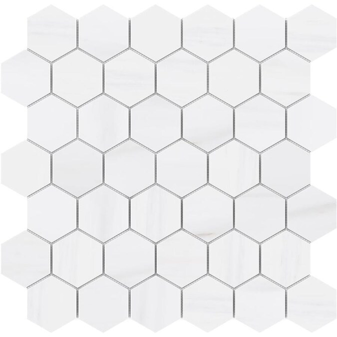 Satori Bianco Dolomite Polished 12 In X 12 In Polished Natural Stone Marble Hexagon Marble Look Wall Tile In The Tile Department At Lowes Com