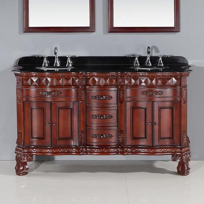 Ove Decors Buckingham 60 In Dark Cherry Undermount Double Sink Bathroom Vanity With Black Granite Top In The Bathroom Vanities With Tops Department At Lowes Com