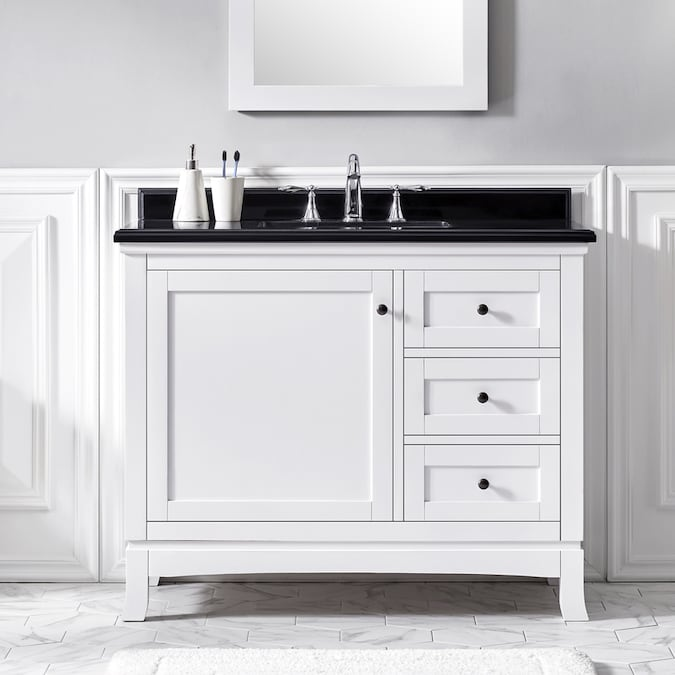 Ove Decors Sophia 42 In White Undermount Single Sink Bathroom Vanity With Black Granite Top In The Bathroom Vanities With Tops Department At Lowes Com