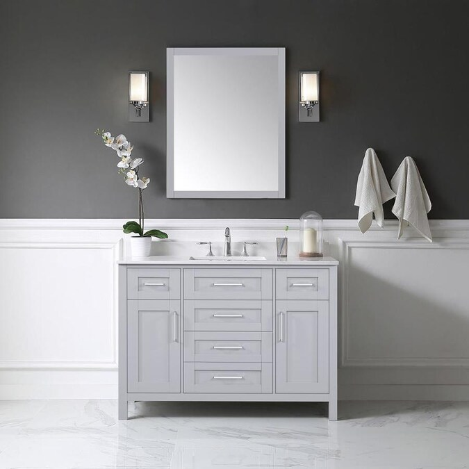Ove Decors Tahoe 48 In Dove Gray Undermount Single Sink Bathroom Vanity With White Engineered Stone Top Mirror Included In The Bathroom Vanities With Tops Department At Lowes Com