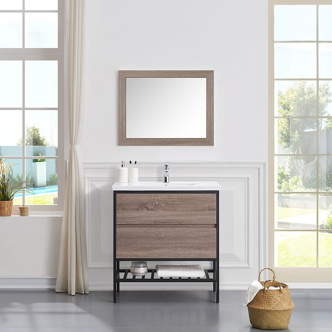 Ove Decors Memphis 32 In Taupe Single Sink Bathroom Vanity With White Ceramic Top In The Bathroom Vanities With Tops Department At Lowes Com