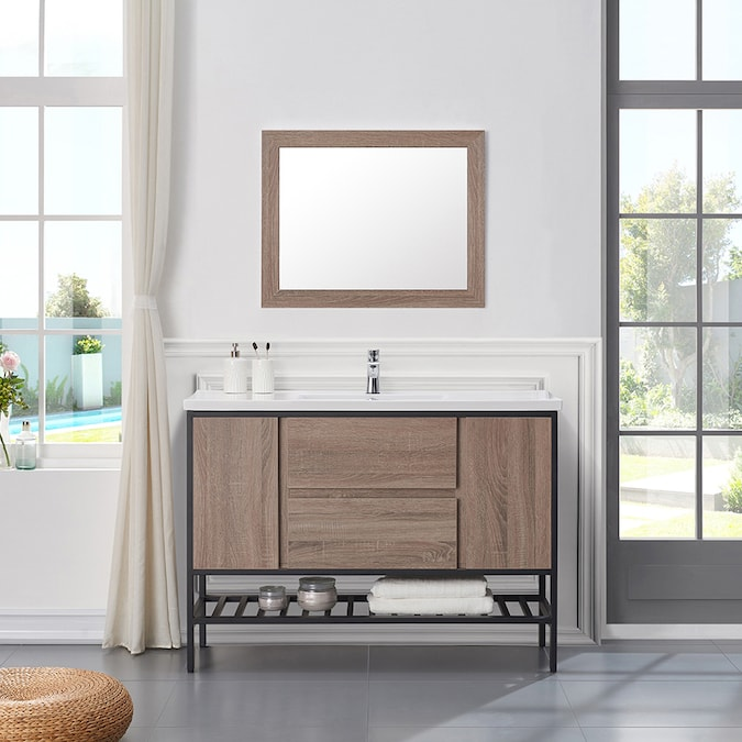 Ove Decors Memphis 48 In Taupe Single Sink Bathroom Vanity With White Ceramic Top In The Bathroom Vanities With Tops Department At Lowes Com