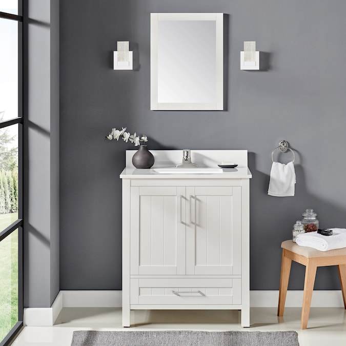 Ove Decors Cliff 30 In White Undermount Single Sink Bathroom Vanity With White Cultured Marble Top Mirror Included In The Bathroom Vanities With Tops Department At Lowes Com