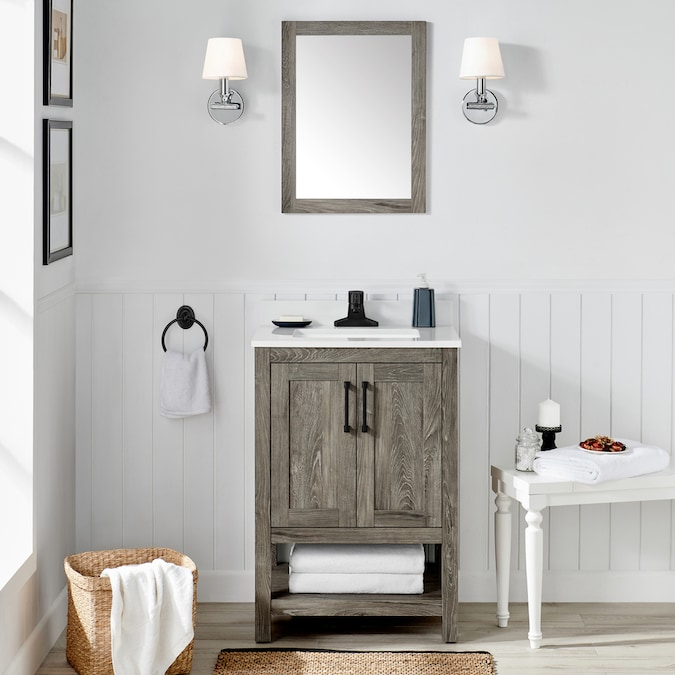 Ove Decors Charles 24 In Weathered Gray Undermount Single Sink Bathroom Vanity With White Cultured Marble Top Mirror Included In The Bathroom Vanities With Tops Department At Lowes Com