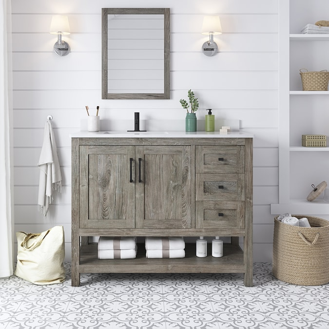 Ove Decors Charles 42 In Weathered Gray Undermount Single Sink Bathroom Vanity With White Engineered Stone Top Mirror Included In The Bathroom Vanities With Tops Department At Lowes Com