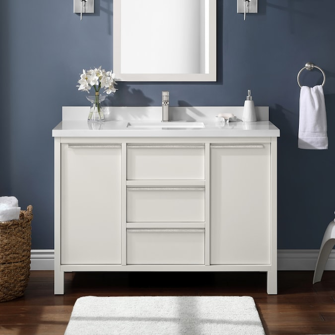Martha Stewart Hudson 48 In White Undermount Single Sink Bathroom Vanity With White Cultured Marble Top In The Bathroom Vanities With Tops Department At Lowes Com