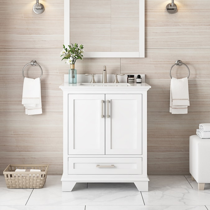 Allen Roth Hamburg 30 In White Single Sink Bathroom Vanity With White Cultured Marble Top In The Bathroom Vanities With Tops Department At Lowes Com