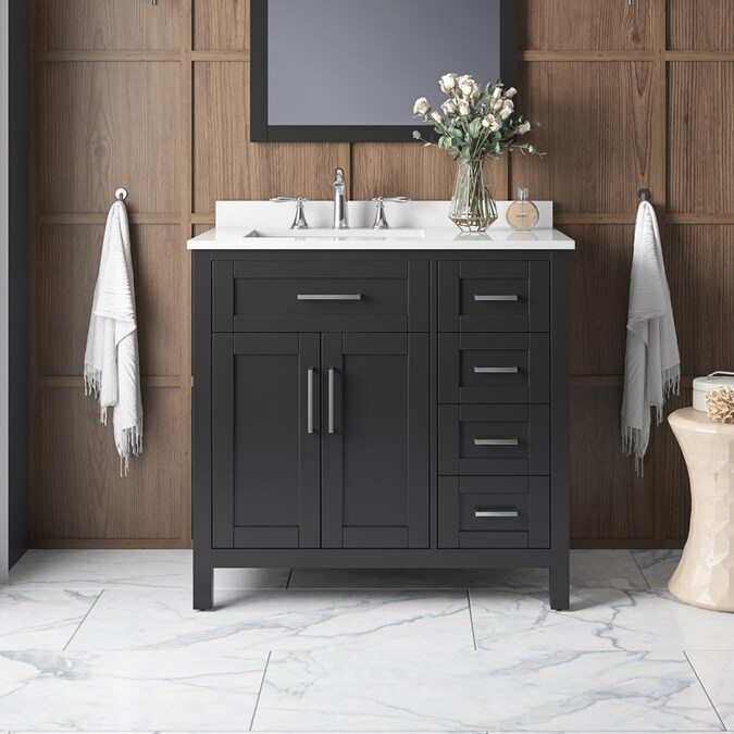 Ove Decors Tahoe 36 In Espresso Undermount Single Sink Bathroom Vanity With White Engineered Stone Top In The Bathroom Vanities With Tops Department At Lowes Com
