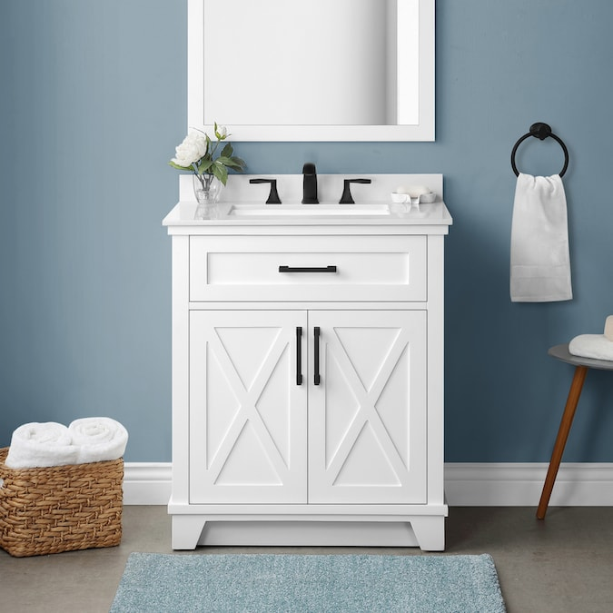 Allen Roth Oliver 30 In White Undermount Single Sink Bathroom Vanity With White Engineered Stone Top In The Bathroom Vanities With Tops Department At Lowes Com