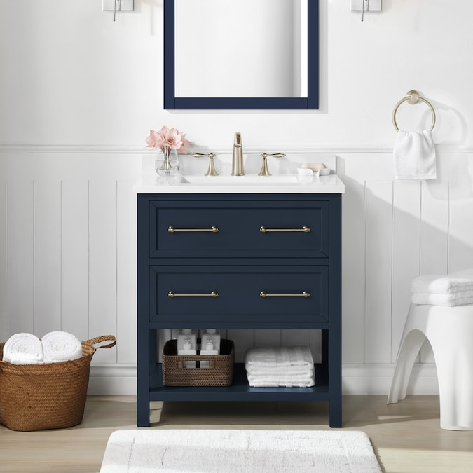 Allen Roth 30 In Midnight Blue Undermount Single Sink Bathroom Vanity With White Engineered Stone Top In The Bathroom Vanities With Tops Department At Lowes Com
