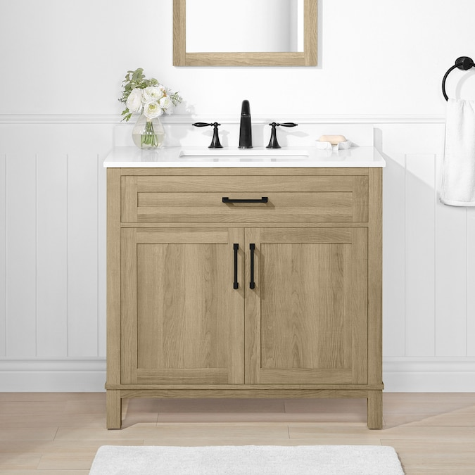 Style Selections Edwards 36 In Natural Oak Undermount Single Sink Bathroom Vanity With White Engineered Stone Top In The Bathroom Vanities With Tops Department At Lowes Com