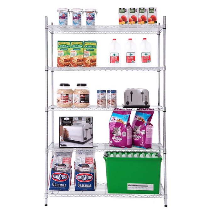 Style Selections 13 4 In D X 23 In W X 30 5 In H 3 Tier Steel Utility Shelving Unit In The Freestanding Shelving Units Department At Lowes Com