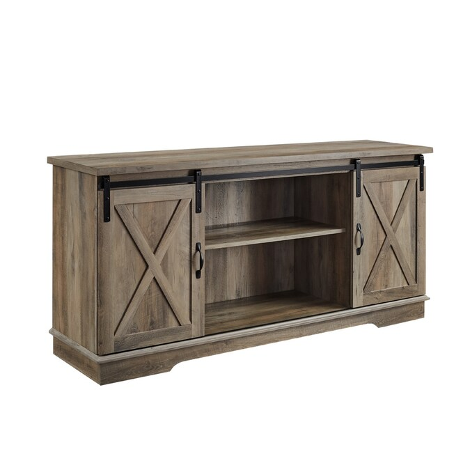 Walker Edison Grey Wash Tv Stand In The Tv Stands Department At Lowes Com