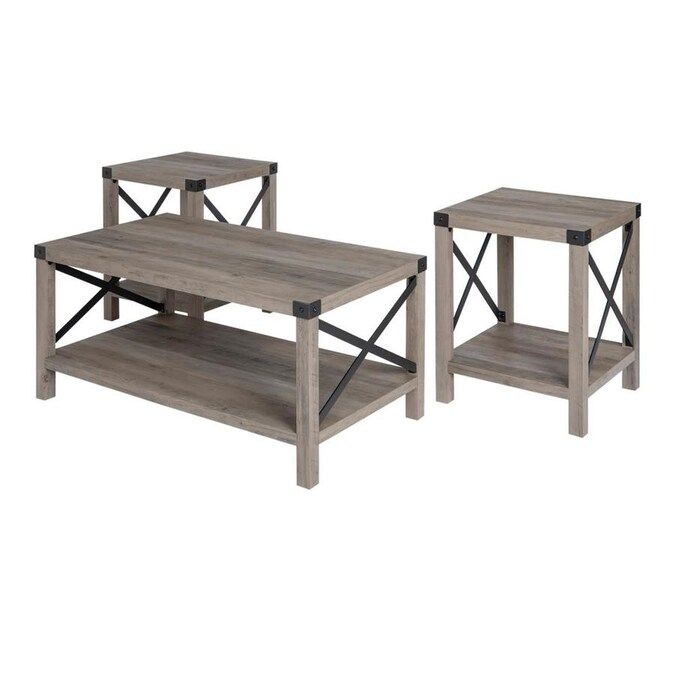 Walker Edison 3 Piece Grey Wash Accent Table Set In The Accent Table Sets Department At Lowes Com