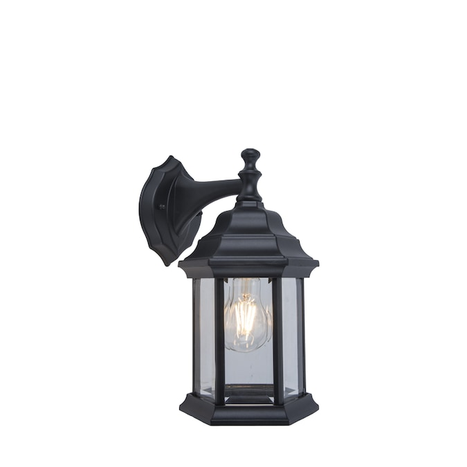 Project Source 11 81 In H Black Medium Base E 26 Outdoor Wall Light In The Outdoor Wall Lights Department At Lowes Com