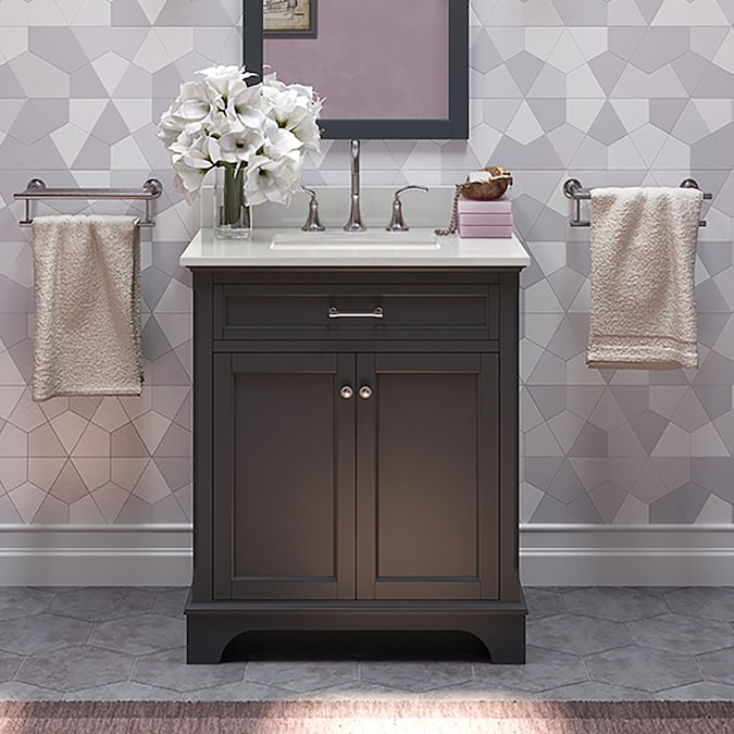 Allen Roth Roveland 30 In Dark Gray Undermount Single Sink Bathroom Vanity With White Engineered Stone Top In The Bathroom Vanities With Tops Department At Lowes Com