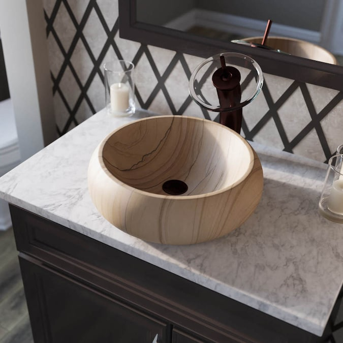 Mr Direct Honey Onyx Stone Vessel Round Bathroom Sink With Faucet Drain Included 16 5 In X 16 5 In In The Bathroom Sinks Department At Lowes Com