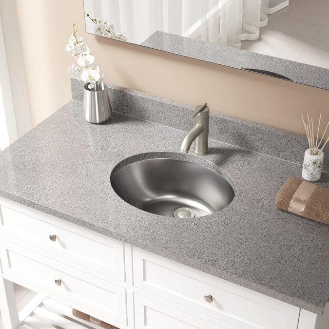 Mr Direct Stainless Steel Stainless Steel Drop In Or Undermount Oval Bathroom Sink With Overflow Drain 19 25 In X 16 25 In In The Bathroom Sinks Department At Lowes Com
