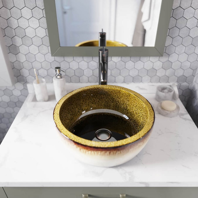Mr Direct White Gold And Black Ceramic Vessel Round Bathroom Sink With Faucet Drain Included 16 5 In X 16 5 In In The Bathroom Sinks Department At Lowes Com