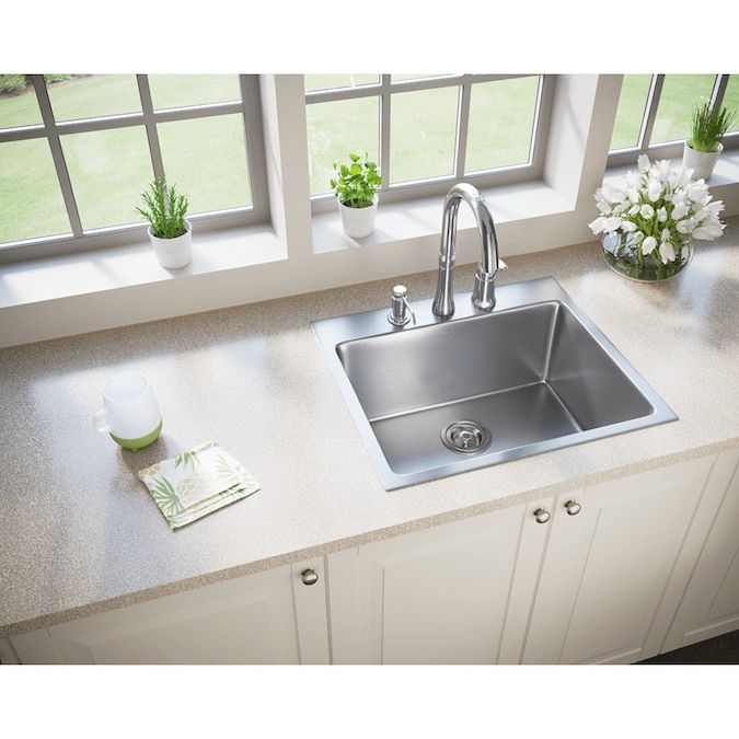 Mr Direct Drop In 23 In X 20 In Stainless Steel Single Bowl 3 Hole Kitchen Sink In The Kitchen Sinks Department At Lowes Com
