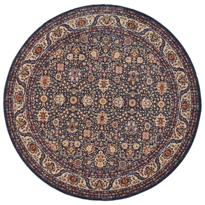 Room Envy Moberly 8 X 8 Blue Ivory Round Indoor Floral Botanical Oriental Area Rug In The Rugs Department At Lowes Com