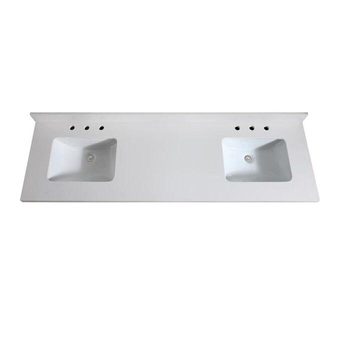 Avanity 73 In White Quartz Double Sink Bathroom Vanity Top In The Bathroom Vanity Tops Department At Lowes Com