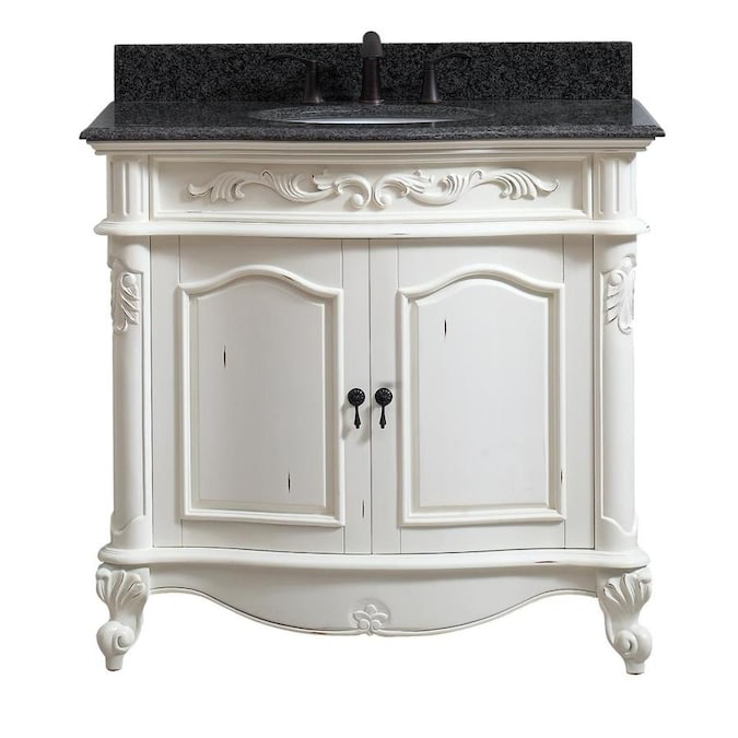 Avanity Provence 37 In Antique White Undermount Single Sink Bathroom Vanity With Black Granite Top In The Bathroom Vanities With Tops Department At Lowes Com