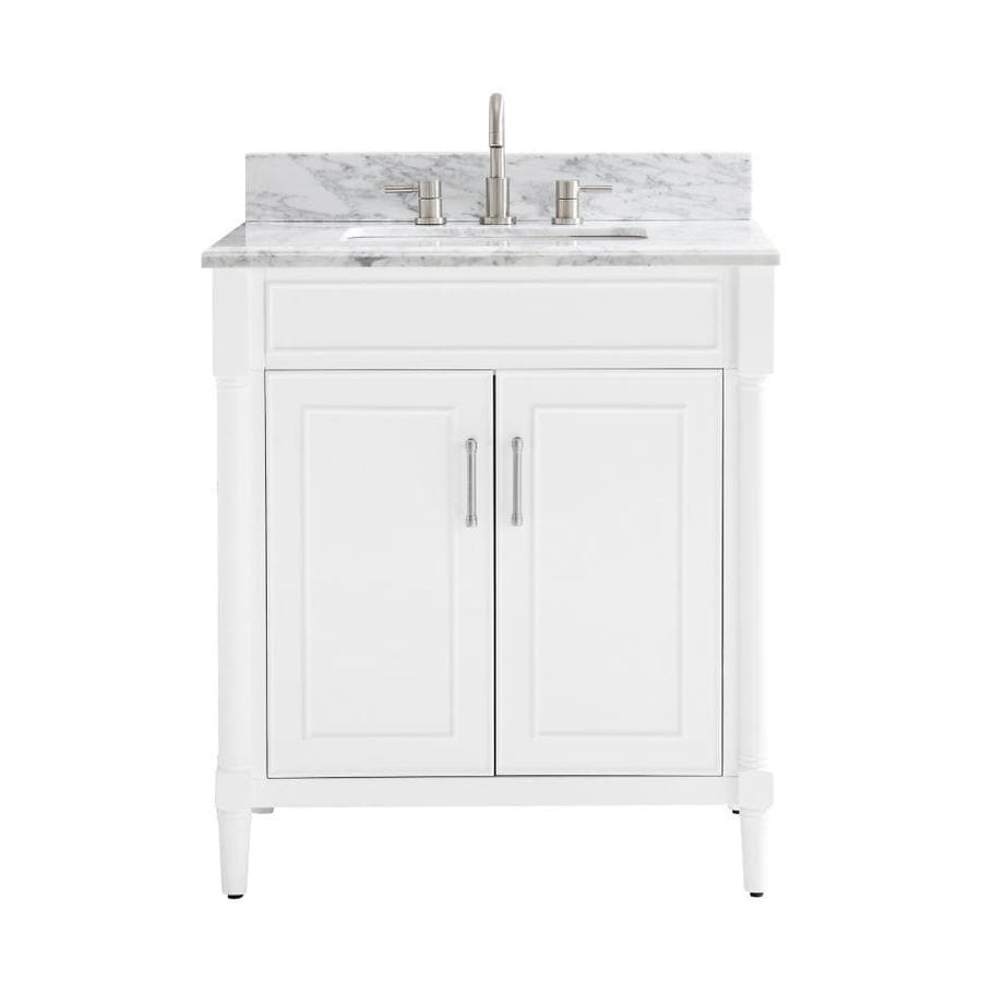 Allen + Roth Perrella 31-in White Single Sink Bathroom Vanity With Carrera  White Natural Marble Top In The Bathroom Vanities With Tops Department At  Lowes.com