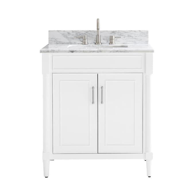 Allen Roth Perrella 31 In White Undermount Single Sink Bathroom Vanity With Carrera White Natural Marble Top In The Bathroom Vanities With Tops Department At Lowes Com